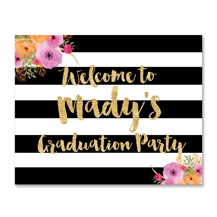 """Mady"" Black + White Stripe Graduation Party Welcome Sign"