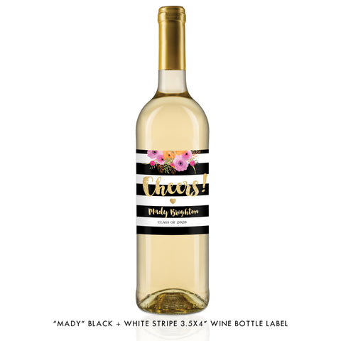 """Mady"" Black + White Stripe Graduation Wine Labels"