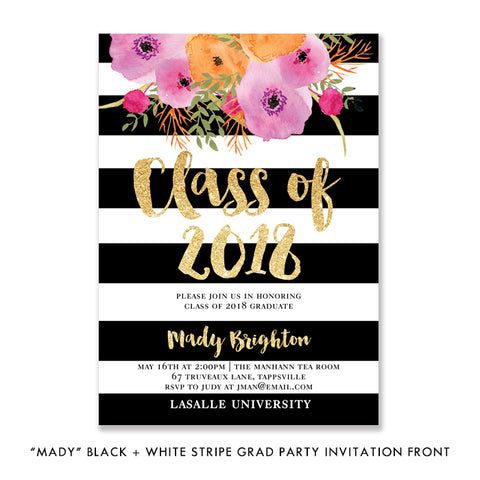"""Mady"" Black + White Stripe Graduation Party Invitation"