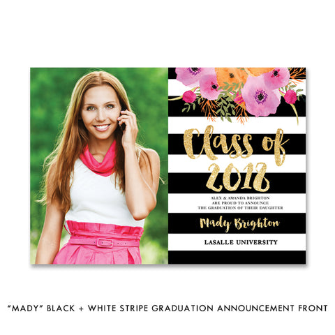 """Mady"" Black + White Stripe Graduation Announcement"