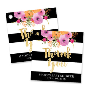 Black + White Stripe Baby Shower Favor Tags