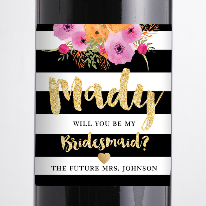 """Mady"" Black + White Stripe Bridesmaid Proposal Wine Labels"