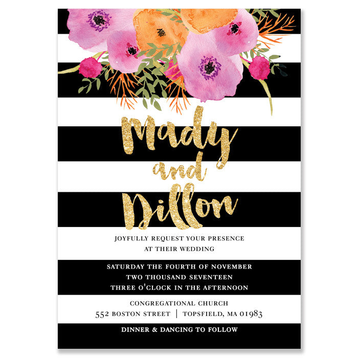 """Mady"" Black + White Stripe Wedding Invitation"