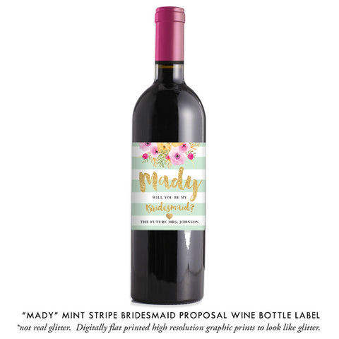 """Mady"" Mint + Gold Bridesmaid Proposal Wine Labels"