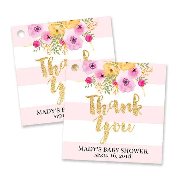 """Mady"" Pink + White Stripe Baby Shower Favor Tags"