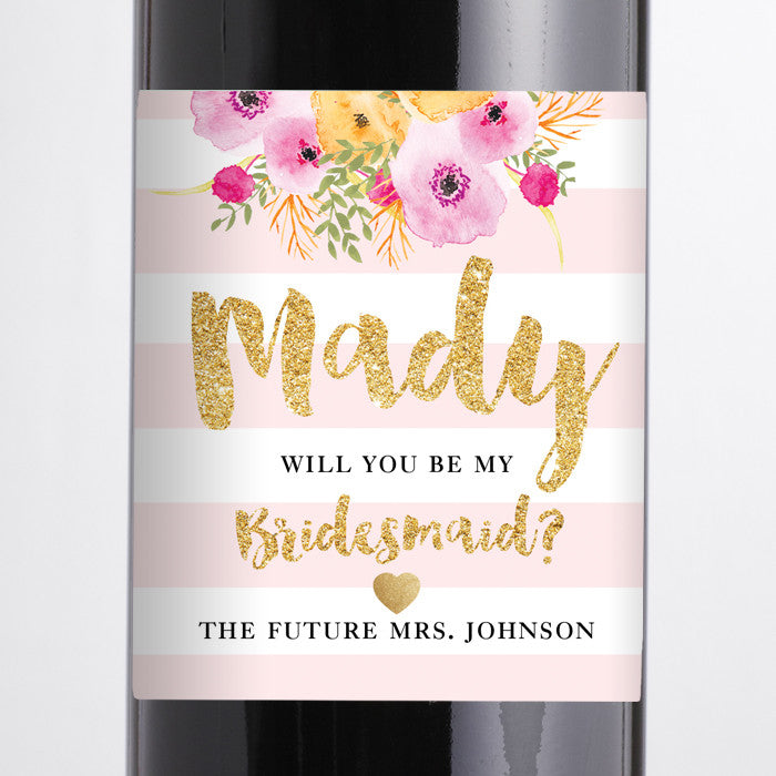 """Mady"" Blush Pink Stripe Bridesmaid Proposal Wine Labels"