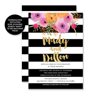 """Mady"" Black + White Stripe RSVP Card"