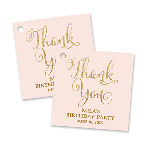 """Mila"" Blush + Gold Birthday Party Favor Tags"