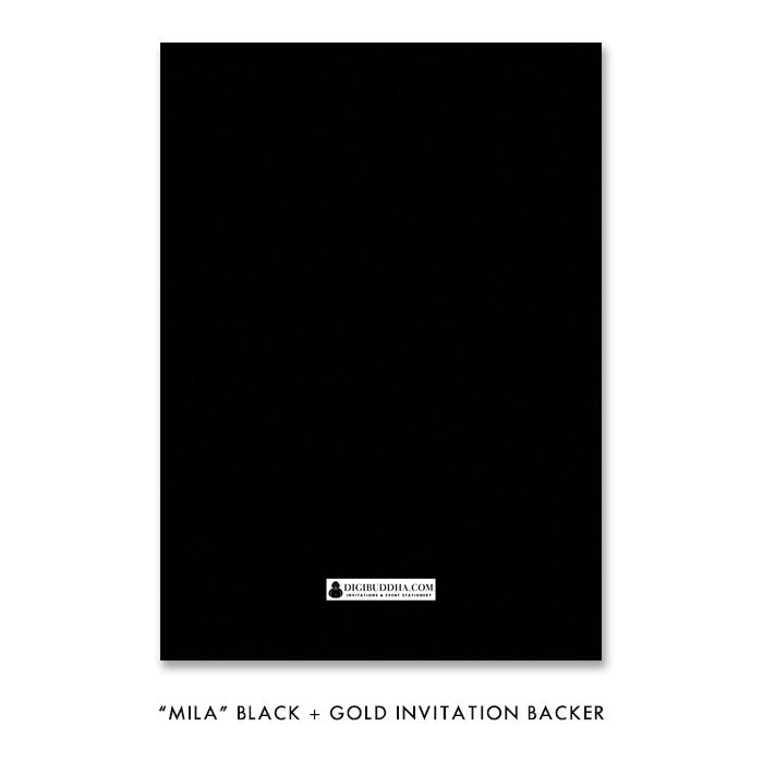 "Black + Gold glitter ""Mila"" rehearsal dinner invitation backer 