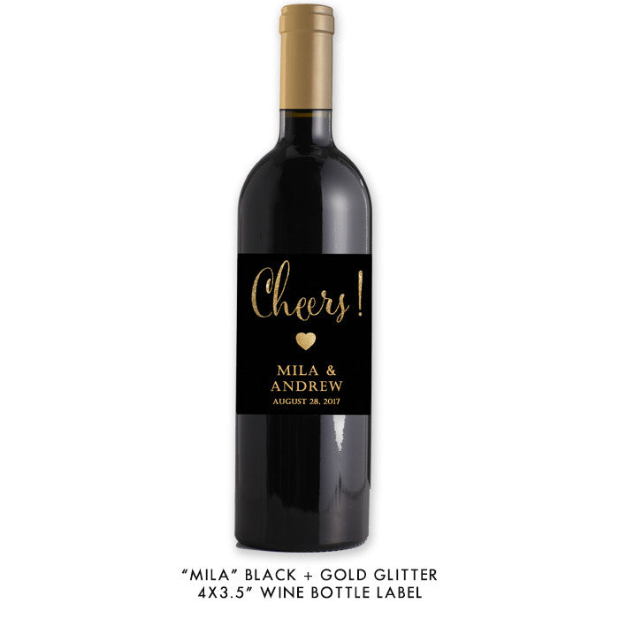 "Black + gold glitter ""Mila"" waterproof wine label 