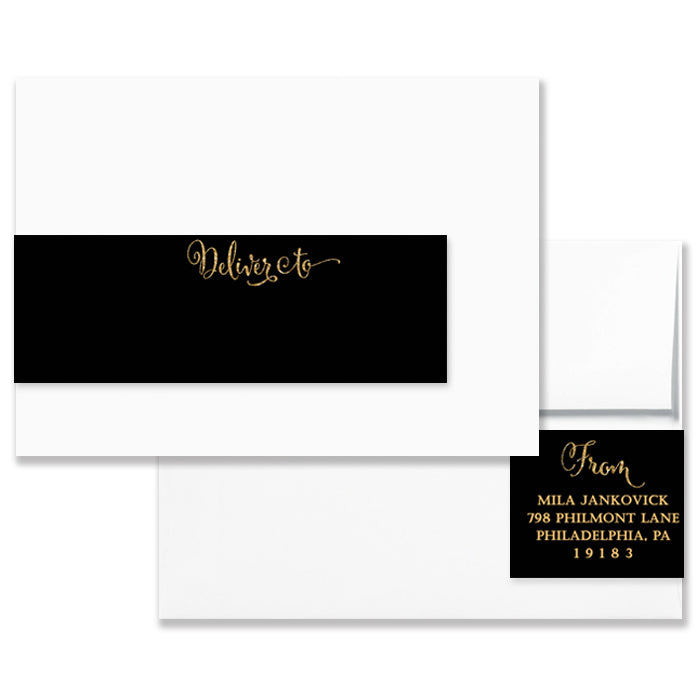 Mila Black Gold Envelope Wrap Address Labels