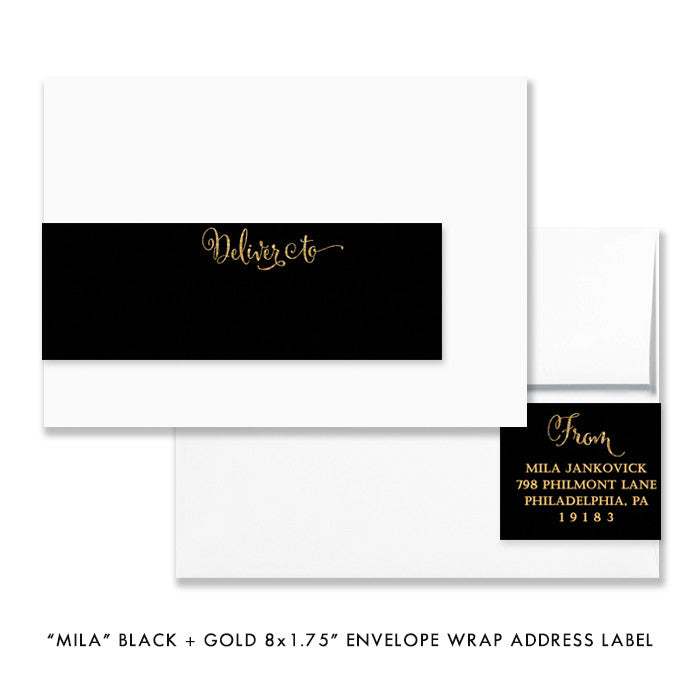 "Black + gold glitter ""Mila"" envelope wrap address label 