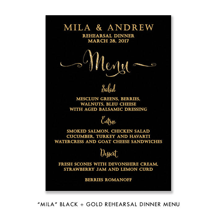 "Black + Gold glitter ""Mila"" rehearsal dinner menu 
