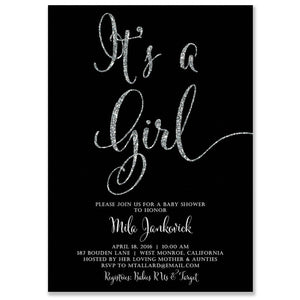 """Mila"" Black + Silver Glitter Baby Shower Invitation"