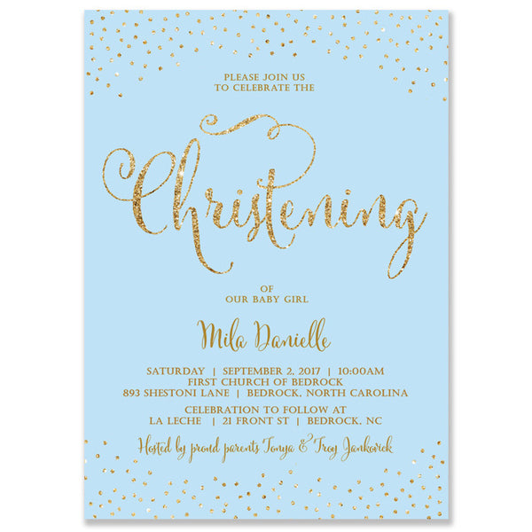 """Mila"" Blue + Gold Glitter Baptism Invitation"