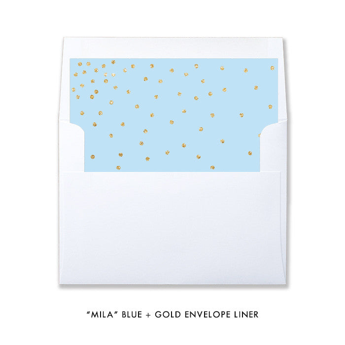 """Mila"" Blue + Gold Glitter Christening Invitation"