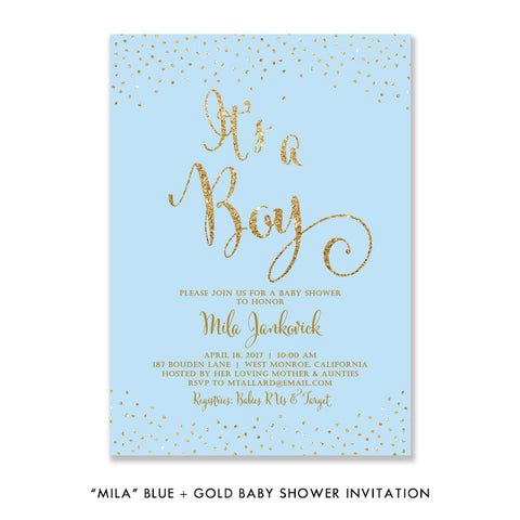 """Mila"" Blue + Gold Glitter Baby Shower Invitation"