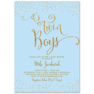 """Mila"" Blue + Gold Twins Baby Shower Invitation"