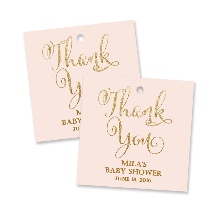 "Blush pink + gold glitter ""Mila"" baby shower favor tags 