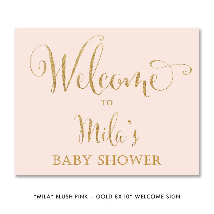 "Blush pink + gold ""Mila"" baby shower welcome party sign 