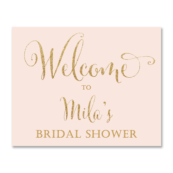 Mila blush pink and gold glitter bridal shower welcome sign by digibuddha.com