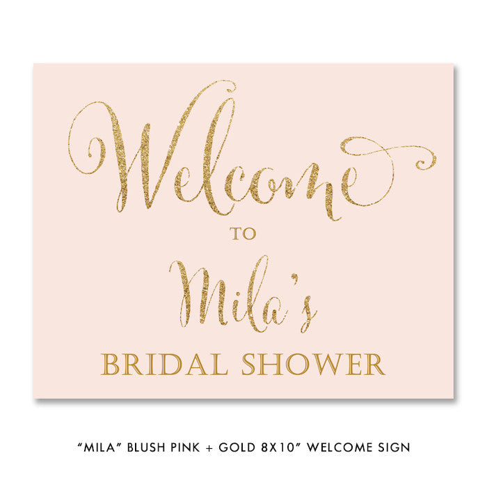"blush pink and gold glitter look ""Mila"" style bridal shower welcome sign from digibuddha.com"