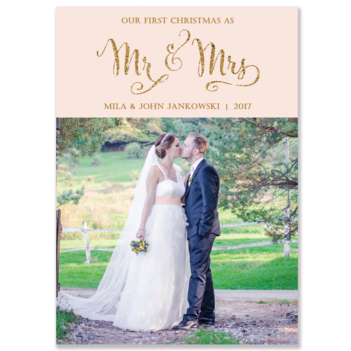 Blush Pink Newlywed Photo Card | Mila