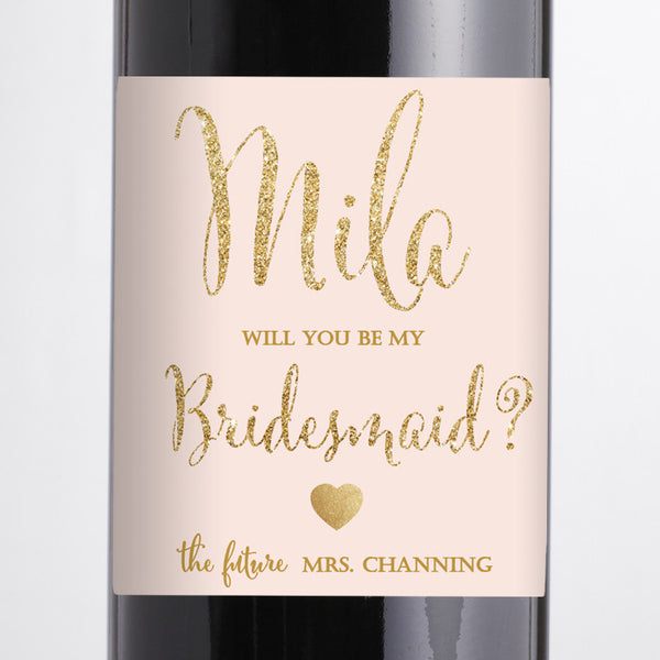 """Mila"" Blush Pink + Gold Bridesmaid Proposal Wine Labels"