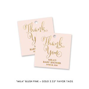 "Blush pink and gold glitter ""Mila"" baby shower favor tags 