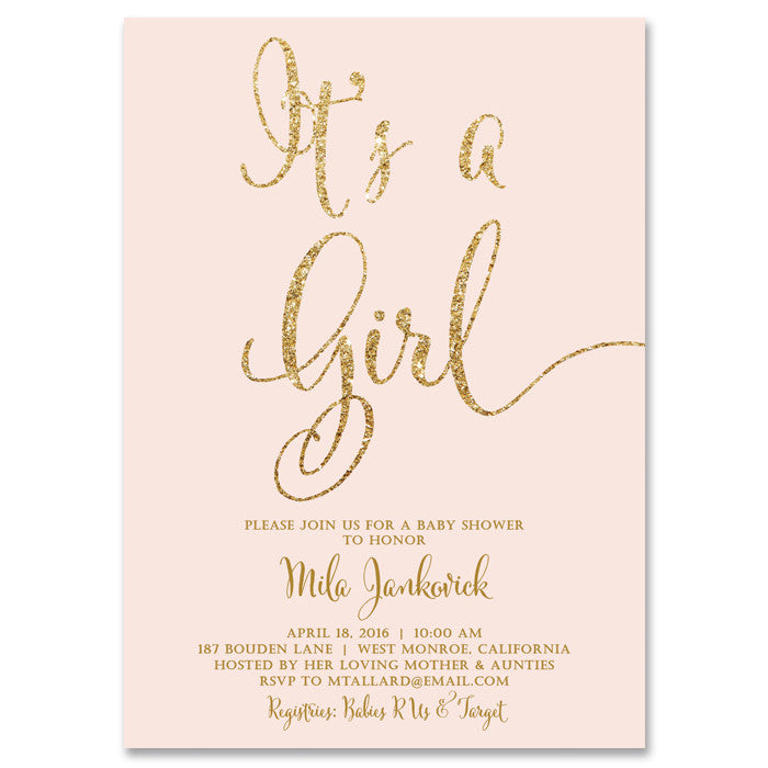 Blush pink gold its a girl baby shower invitation digibuddha mila blush gold glitter baby shower invitation filmwisefo