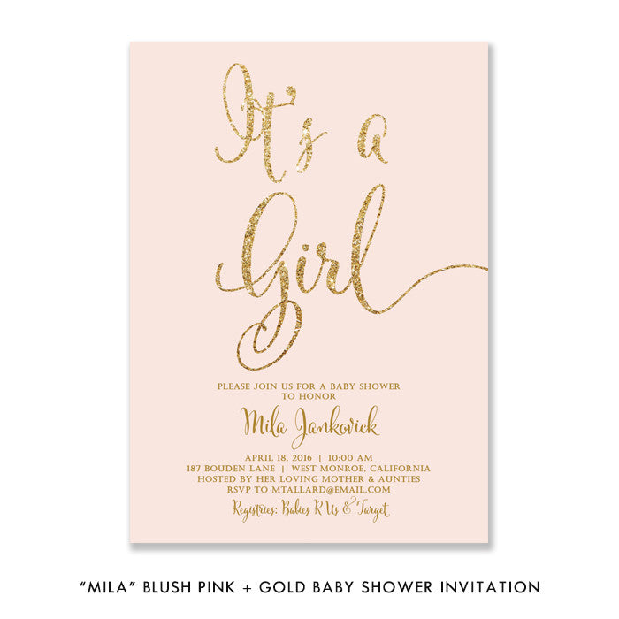 "Blush pink + gold glitter It's A Girl! ""Mila"" baby shower invitation 