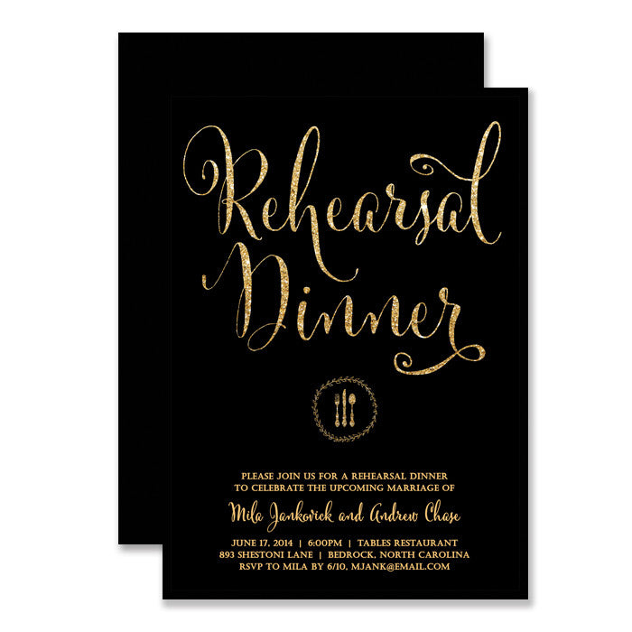 "Black + Gold glitter ""Mila"" rehearsal dinner invitations 