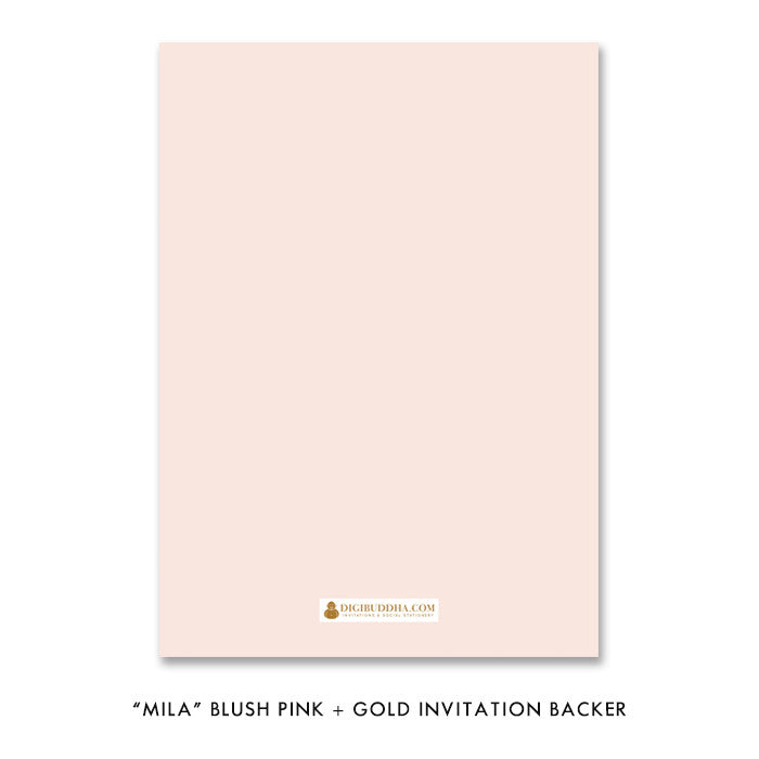 "Blush pink + gold glitter ""Mila"" boho chic glam rehearsal dinner invitation backer 