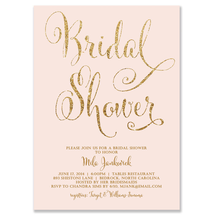 mila blush gold glitter bridal shower invitation