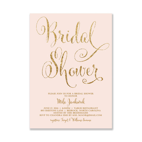 """Mila"" Blush + Gold Glitter Bridal Shower Invitation"