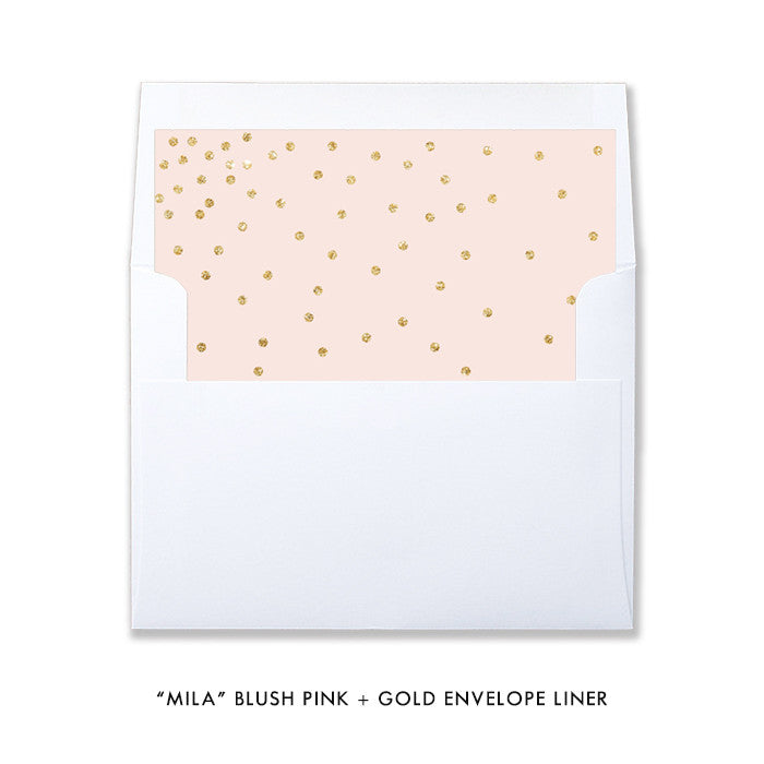 "Blush pink and gold glitter look ""Mila"" envelope liner 