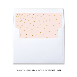 "Blush pink and gold glitter look ""Mila"" envelope liner from digibuddha.com"