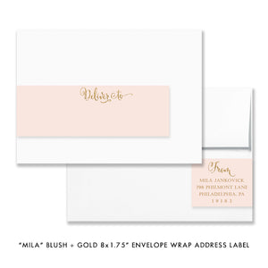 """Mila"" Blush + Gold Glitter Christening Invitation"