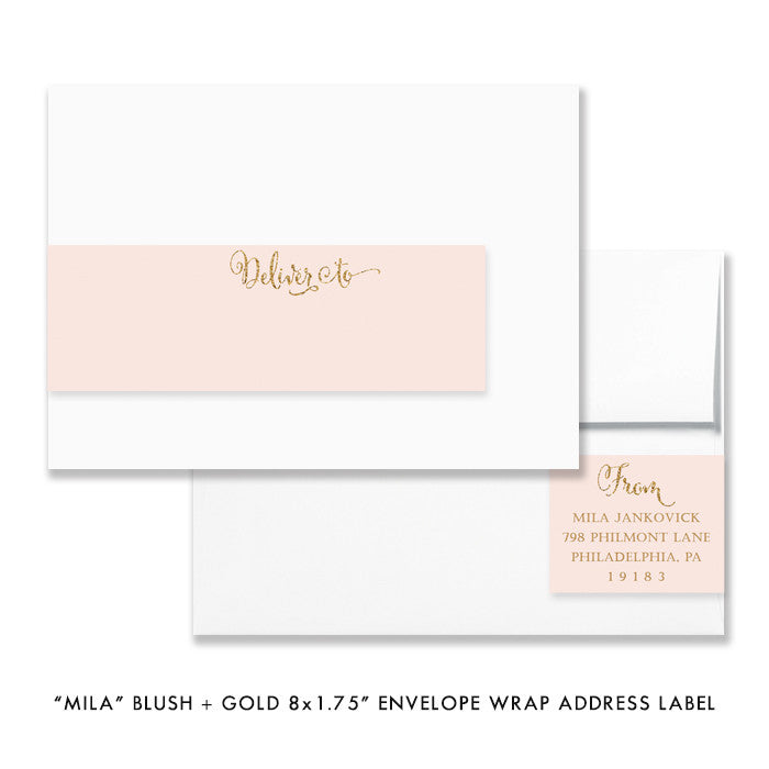 "blush pink and gold glitter look ""Mila"" envelope wrap address label 