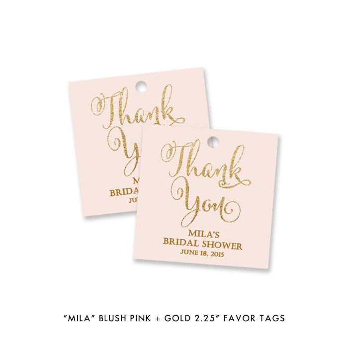 "blush pink and gold glitter look ""Mila"" favor tags available at digibuddha.com"