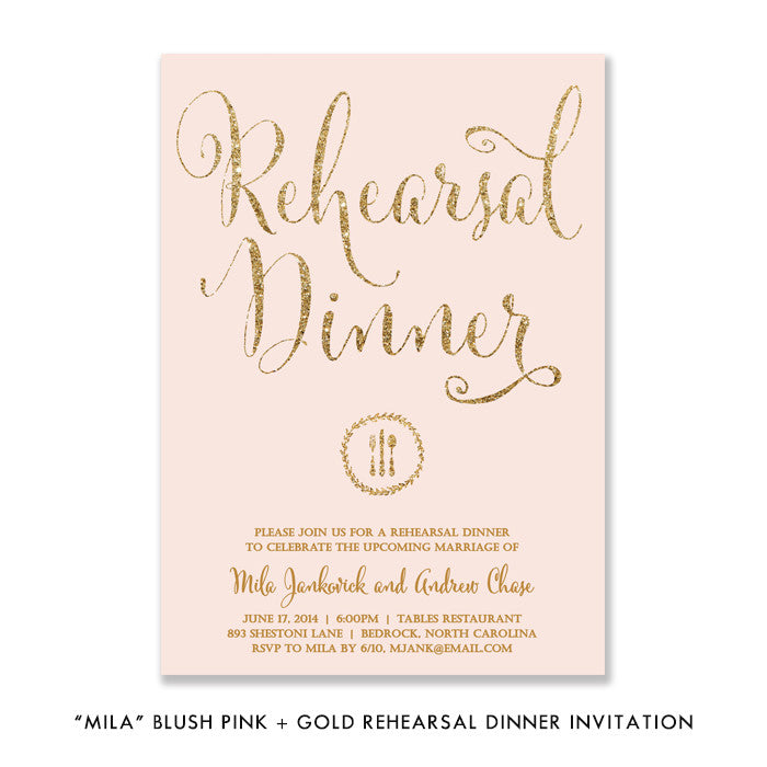 "Blush pink + gold glitter ""Mila"" boho chic glam rehearsal dinner invitations 