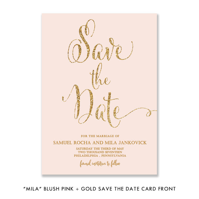 "Blush pink + gold glitter ""Mila"" save the date card front 