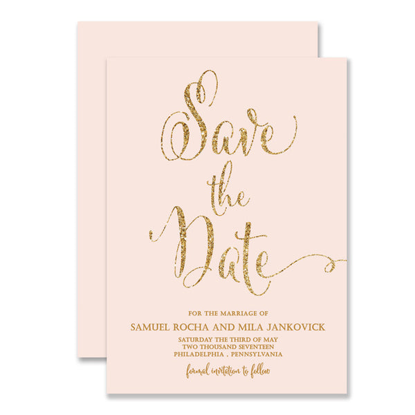 "Blush pink + gold glitter ""Mila"" save the date cards 