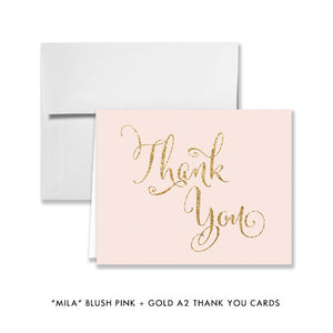 "blush pink and gold glitter ""Mila"" style folded A2 thank you cards from digibuddha.com"