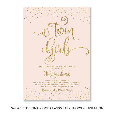 """Mila"" Blush + Gold Glitter Twins Baby Shower Invitation"