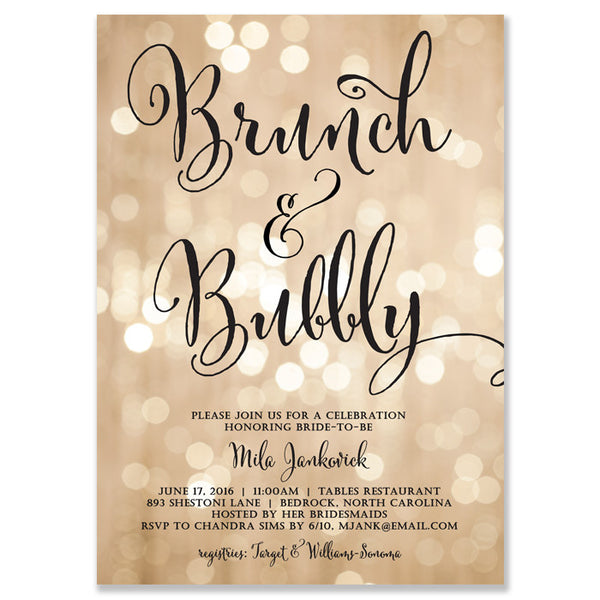 """Mila"" Champagne Bokeh Brunch + Bubbly Bridal Shower Invitation"