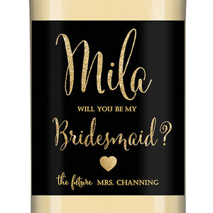 """Mila"" Black + Gold Glitter Bridesmaid Proposal Wine Labels"