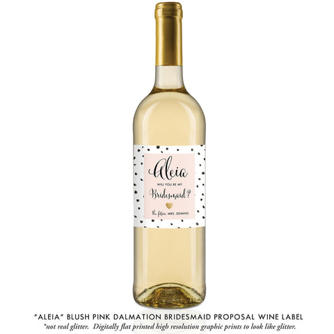"""Aleia"" Blush Pink Dalmation Bridesmaid Proposal Wine Labels"