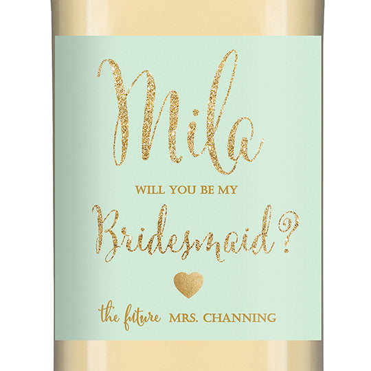 """Mila"" Mint + Gold Glitter Bridesmaid Proposal Wine Labels"