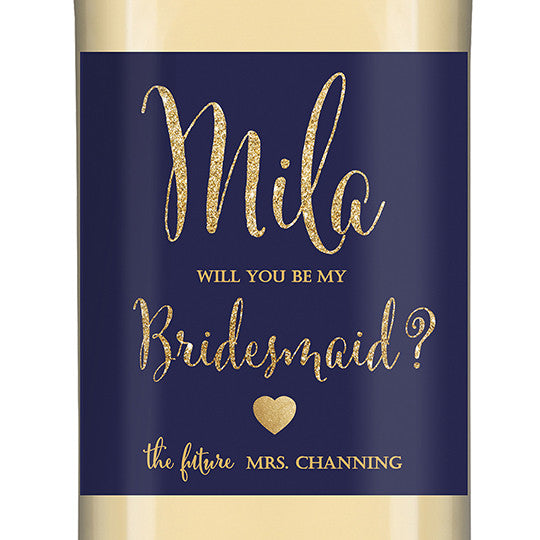 """Mila"" Navy + Gold Glitter Bridesmaid Proposal Wine Labels"